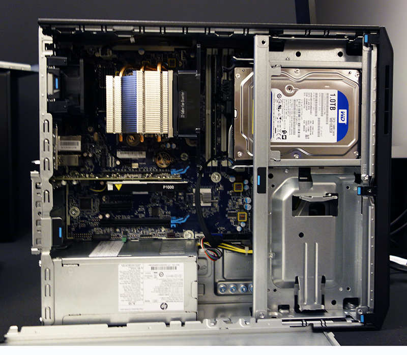 The HP Z2 SFF G4 ships with four PCIe expansion slots and two M.2 storage slots.