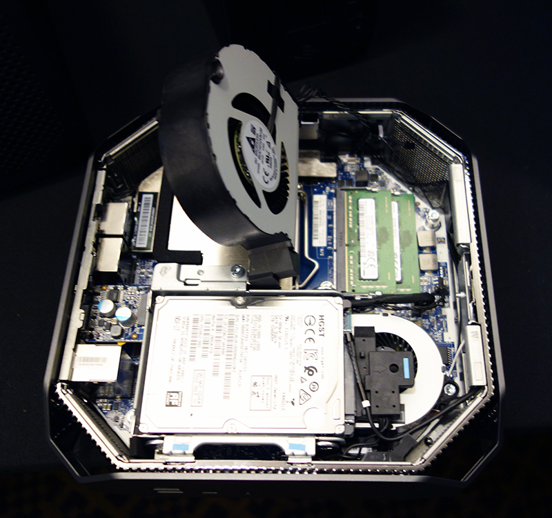 The CPU cooling fan can be flipped up for easy access to its RAM modules.