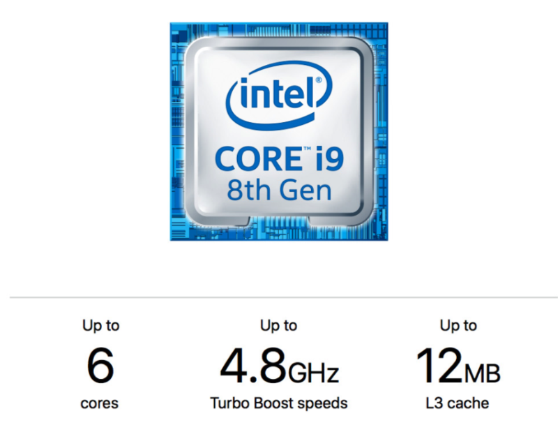 The headline figures of the new 6-core Core i9-8950HK processor.