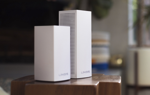 The new Linksys Velop Dual-Band Mesh WiFi system is considerably more compact than last year's tri-band model. (Image source: Linksys)