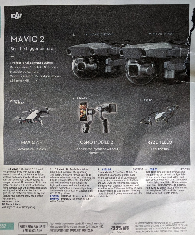 DJI's Mavic 2 models are revealed in the latest Argos catalog.<br>Image source: @monty_f