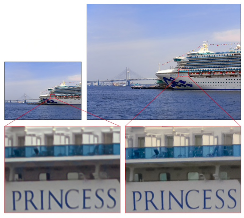 Left: Conventional image (12MP). Right: IMX586 image (48MP) <br>Image source: Sony
