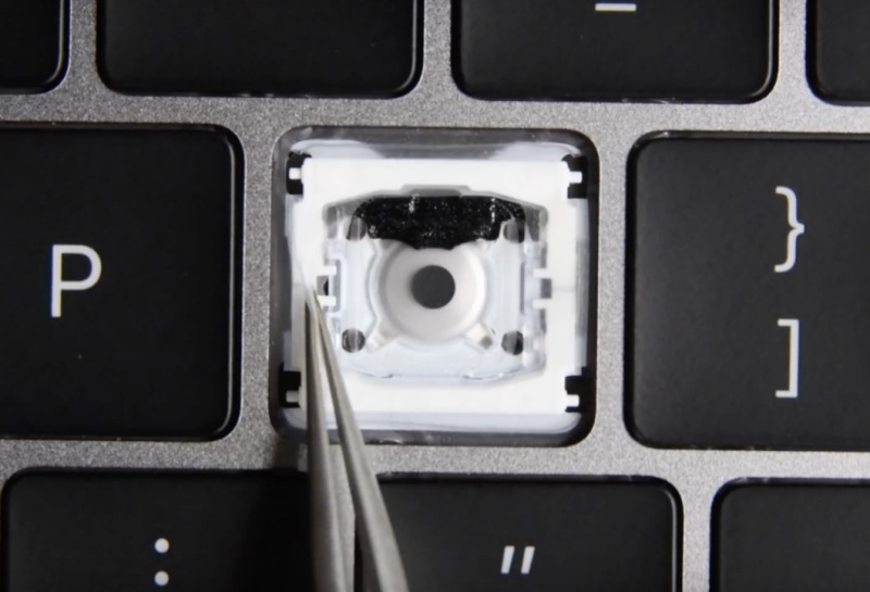 Screenshot taken from iFixit's YouTube video on MacBook Pro 2018 Initial Findings: Keyboard Design Cover-Up?