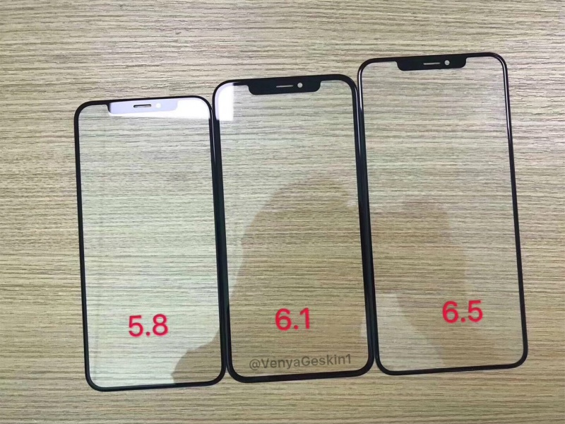 Purported front panels of the three upcoming iPhone models. <br>Image source: @VenyaGeskin1