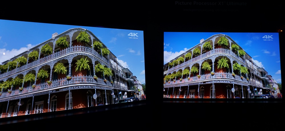 Another example with the X1 Ultimate processor enabled (right), versus picture processing disabled (left).