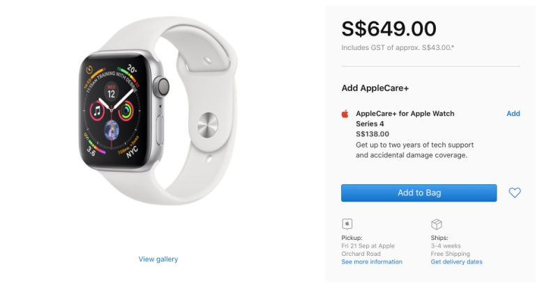 AppleCare+ for the Apple Watch Series 4 is priced at S$138.