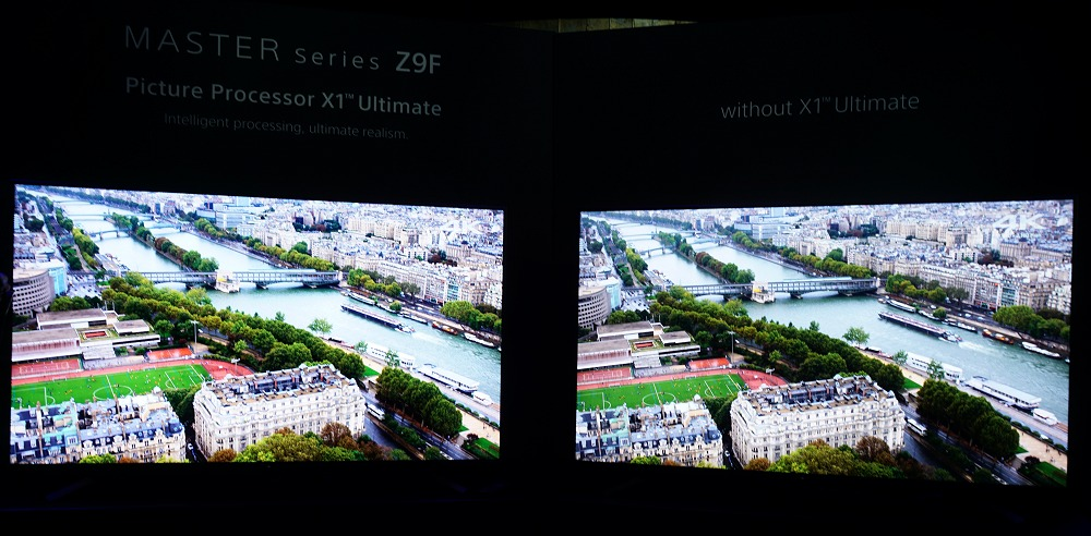 It may not be very evident in this example, but the TV on the left with the X1 Ultimate processor enabled revealed better image highlights, especially in the darker areas.