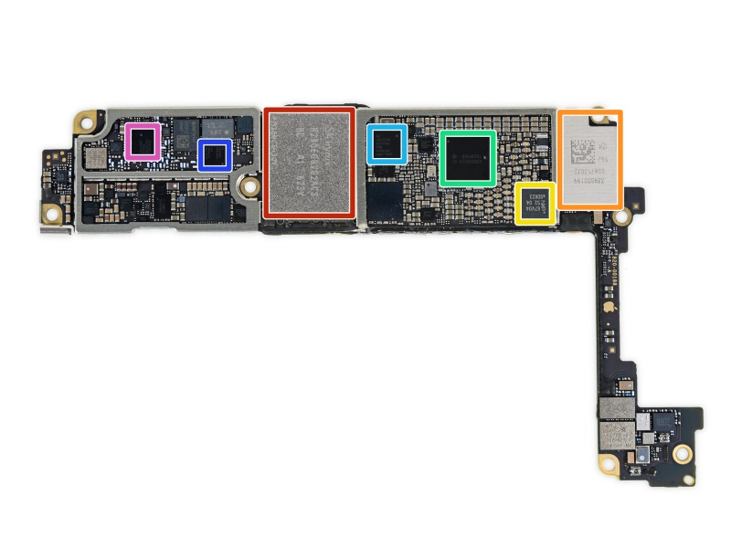 Dialog 338S00225 Power Management IC (green box) is seen on the logic board of the Apple iPhone 7 by iFixit. <br>Image source: iFixit