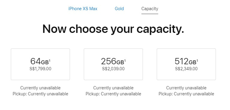iPhone XS Max pricing.
