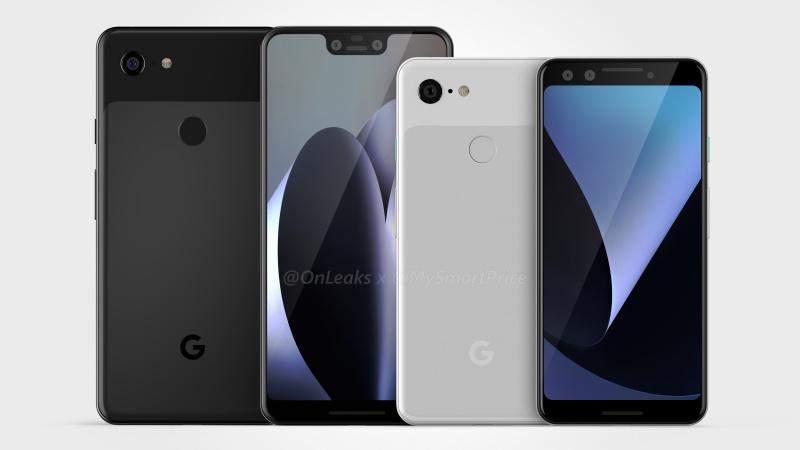 Purported renders of the Google Pixel 3 and Pixel 3 XL. <br>Image source: @OnLeaks + @MySmartPrice