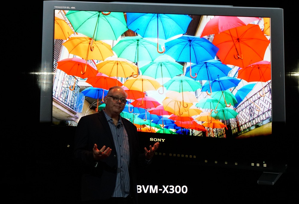 Bill Baggelaar, SVP, Technology at Sony Pictures sharing some of the most established products used in the post production world - such as this US$30,000 30-inch 4K OLED reference monitor.