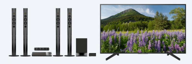Sony BDVN9200W 5.1-channel 3D Blu-ray Home Theatre system and Sony KD43X7000F 43-inch Ultra-HD 4K Smart LED TV.