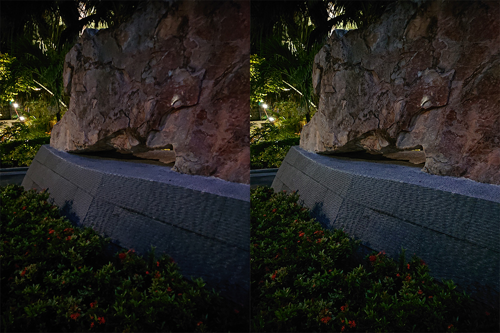 You might have to squint to see it, but the UHS image (right) has more detail in the rock and granite than the non-UHS image (left). According to the EXIF data, both images were shot at the same settings, so it's likely the dual camera system that's making the difference.