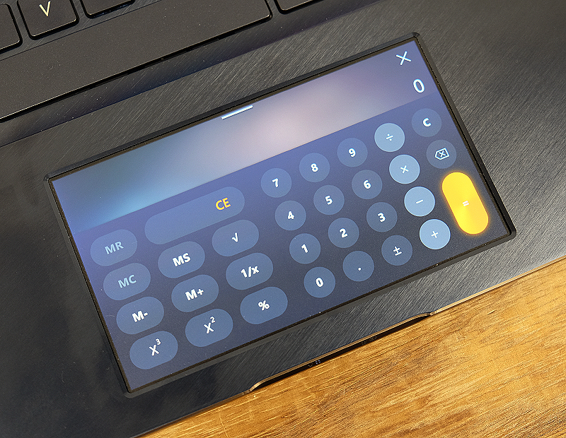 Here is the ScreenPad running a calculator app.