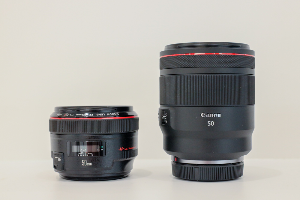 The 50mm f/1.2 EF lens (left) and the new 50mm f/1.2 RF lens (right).