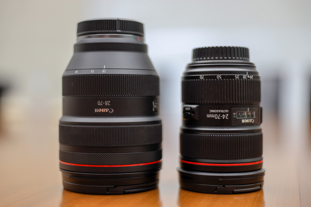 The 28-70mm f/2 RF lens (left) and the 24-70mm f/2.8 EF lens (right).