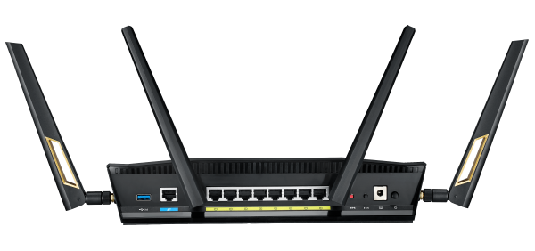 The RT-AX88U has 8 Gigabit Ethernet ports. Count them. (Image source: ASUS)