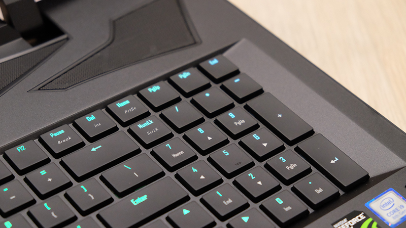 The tactile mechanical keyboard feels great to type on.
