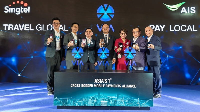 Singtel and AIS debut VIA, Asia's first cross-border mobile payment alliance, enabling Singapore-Thailand cross-border mobile payments with Singtel Dash, AIS GLOBAL Pay and Rabbit Line Pay, in partnership with Kasikornbank.