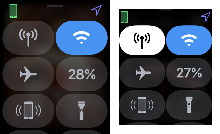 Screen caps of the Apple Watch Series 4 on the left and Series 3 on the right. This is the difference in terms of sheer resolution.