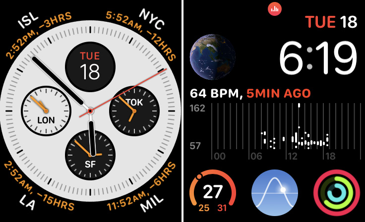 Inforgraph (left) and Infograph Modular (right) are two watch faces exclusive to Apple Watch Series 4.