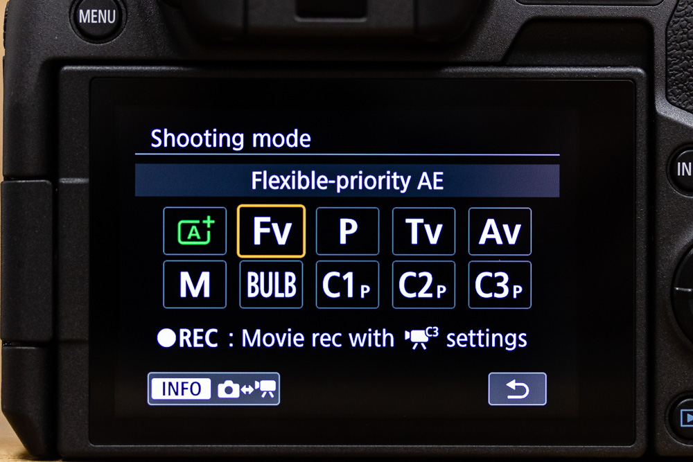 When you press the Mode button, this selection screen takes over the view, whether you're using the monitor or the EVF.