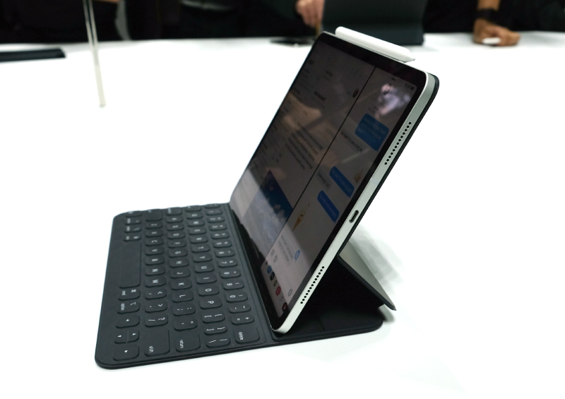 The new iPad Pro with the new Smart Keyboard Folio attached. Note the new USB-C port.