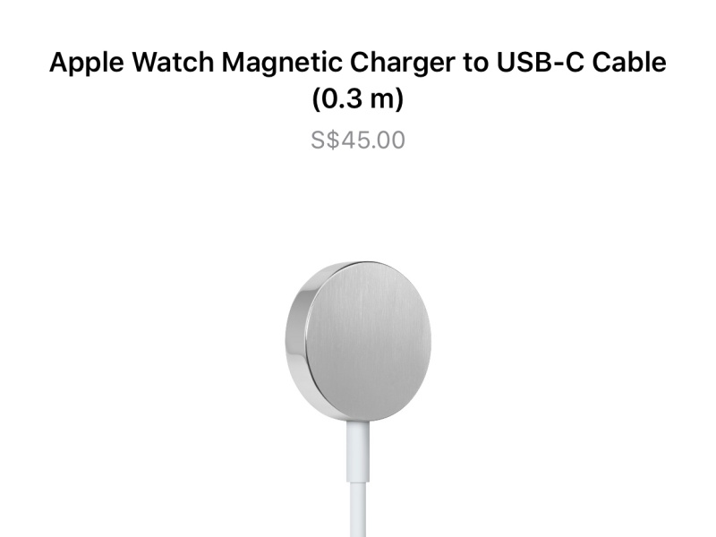 The Apple Watch Magnetic Charger to USB-C Cable.