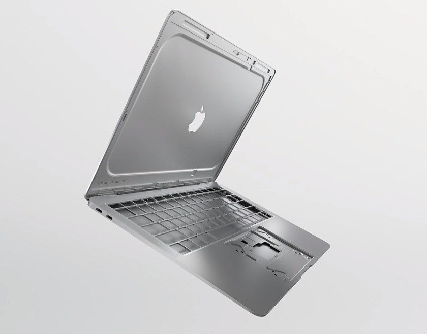 This new MacBook Air uses an Apple-designed alloy that's made from 100% recycled aluminum.