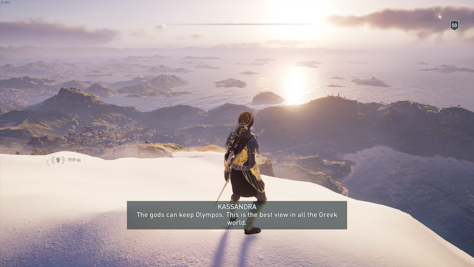 Checking view distance on the tallest peaks in AC Odyssey.