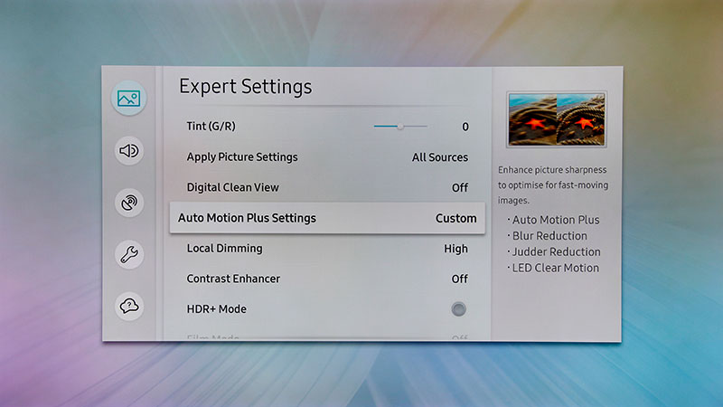 TV settings & Performance : Samsung 65-inch Q9F QLED TV (2018