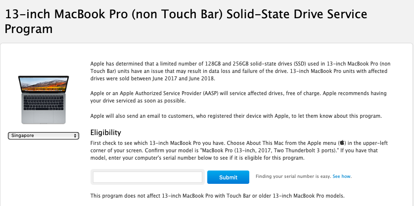 Apple launches SSD service program for 13-inch MacBook Pro