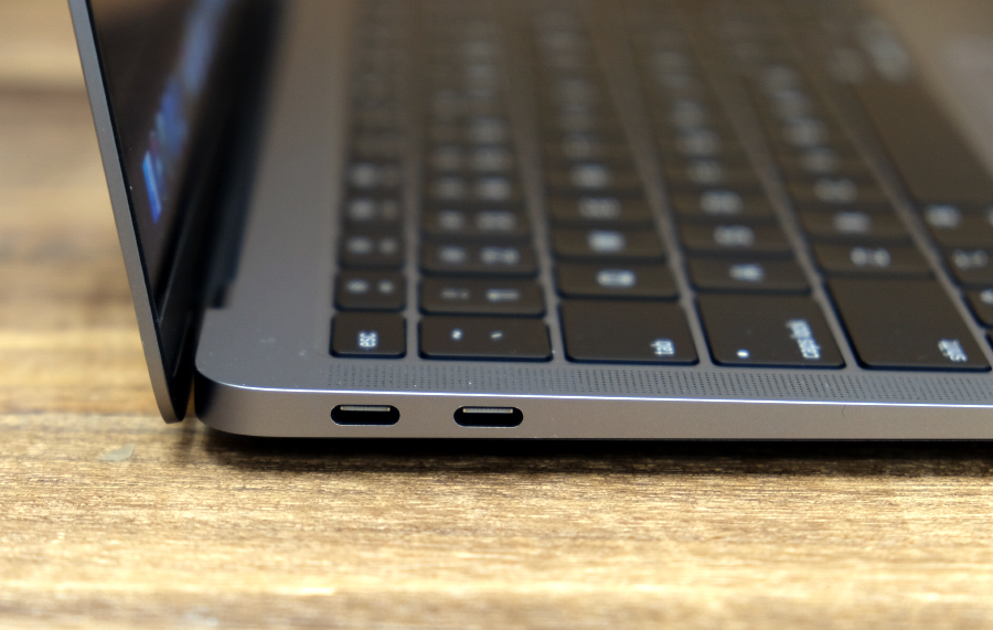 The MacBook Air comes with two USB-C Thunderbolt 3 ports.