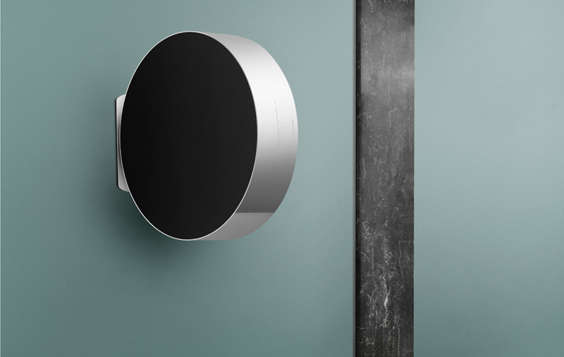 Defying gravity? Even when suspended on the wall, you can still control volume with the force of your touch. According to B&O, the speaker is counterbalanced by a spring that will magically let it return to its centerpoint.