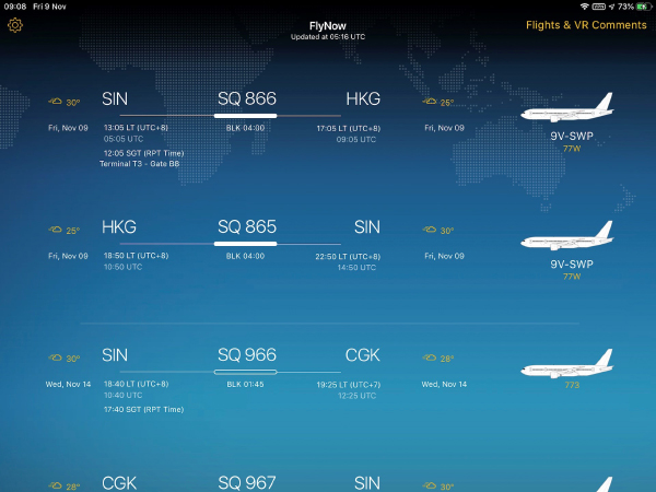 FlyNow shows upcoming flights and relevant flight information at a glance.