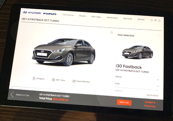 The configurator lets you have an idea of what your car will look like.