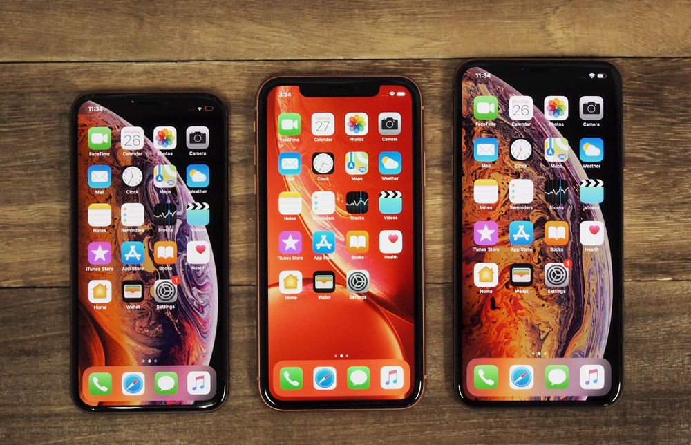 From left to right: The Apple iPhone XS, iPhone XR and iPhone XS Max.
