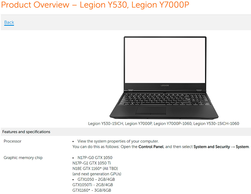 A Listing For Lenovo S Legion Laptop Points To An Nvidia Geforce Gtx