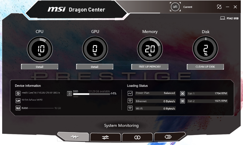 MSI Dragon Center... what a name for a system monitoring and customization utility.