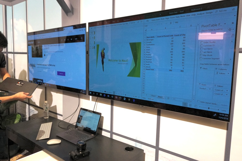 Yes, we checked - the Snapdragon 8cx reference platform could output to two 4K HDR screens via two USB Type-C ports, which is great for work requiring extra screen real estate to manage your work.