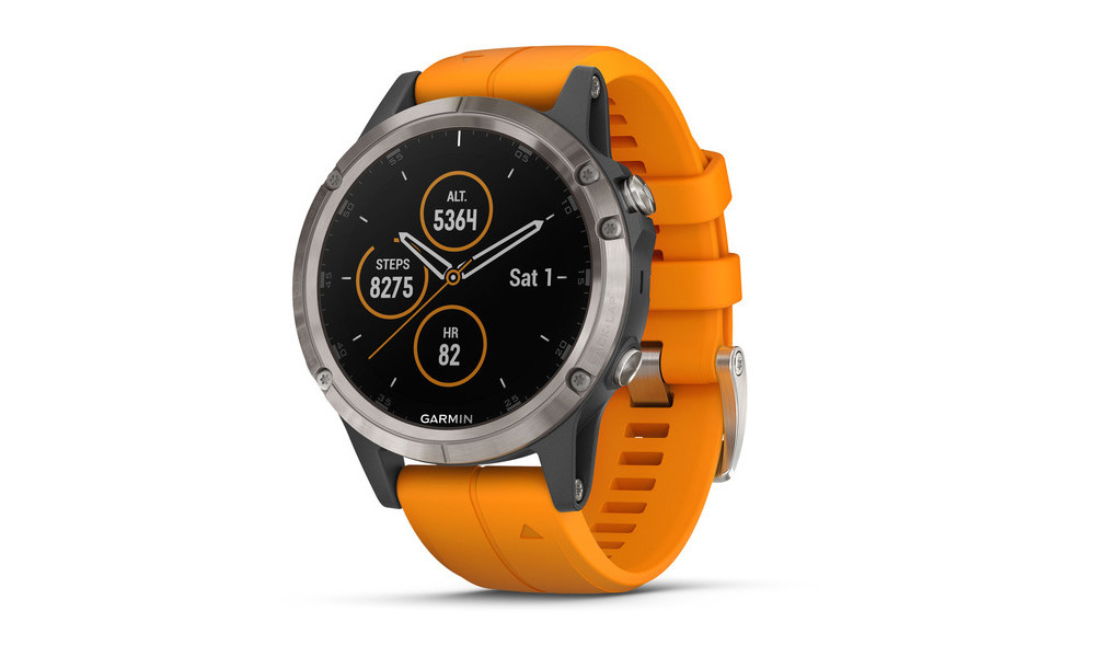 The Fenix 5 Plus is the middle-sized model with a case size of 47mm.