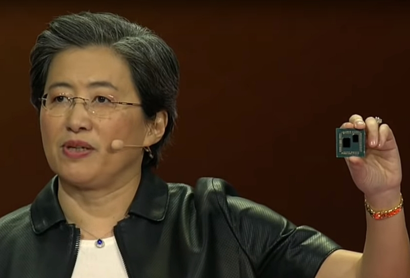 AMD CEO Dr. Lisa Su held up a 3rd-gen AMD Ryzen desktop CPU at CES 2019. (Image source: AMD)