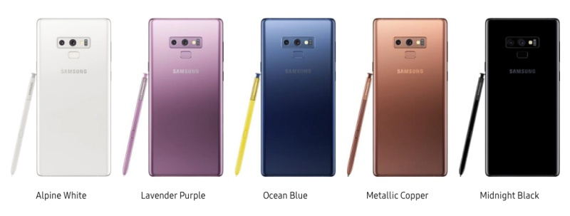 The Samsung Galaxy Note9 is now available in these colors.