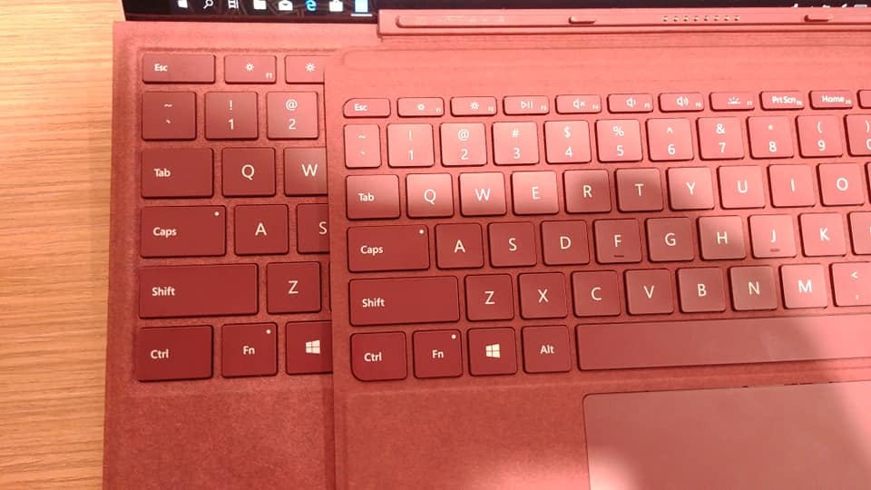 The more compact individual keys is how Microsoft managed to pull off this keyboard design. Look carefully at the keys that are lettered Q, A and Z respectively on both keyboards.