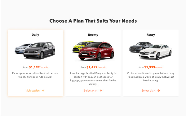 Carro's three car subscription plans