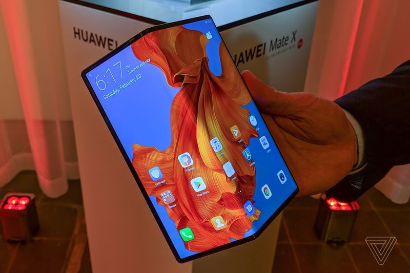 The Huawei Mate X foldable phone. <br>Image source: The Verge