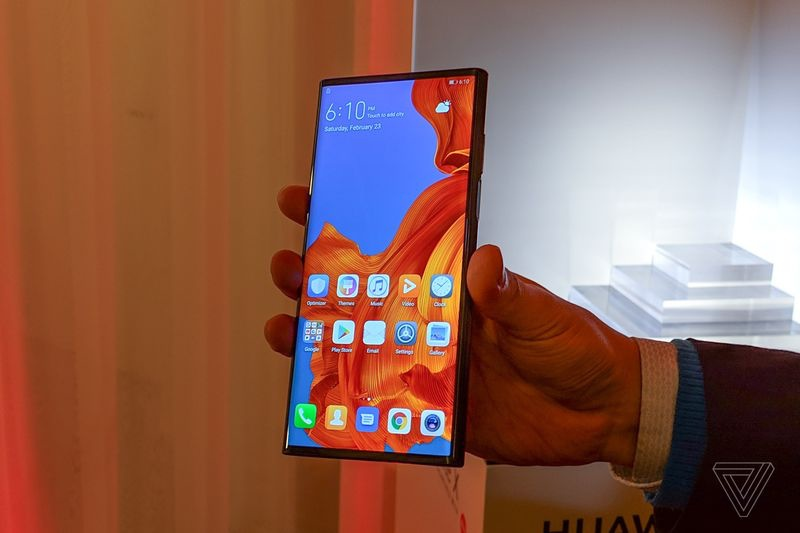 The Huawei Mate X when folded. <br> Image source: The Verge.