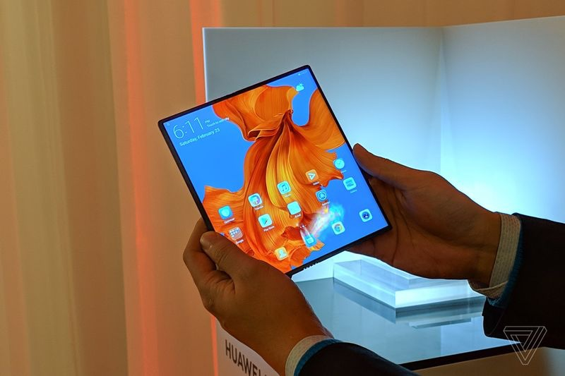 The Huawei Mate X when unfolded. <br> Image source: The Verge