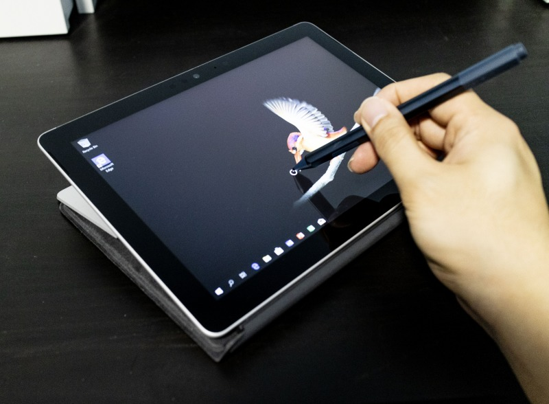 With the kickstand completely laid back, aka Studio Mode, it makes it easy for inking activities such as taking notes or drawing/coloring. Of course you need to purchase the optional Surface Pen to enjoy these extra capabilities.