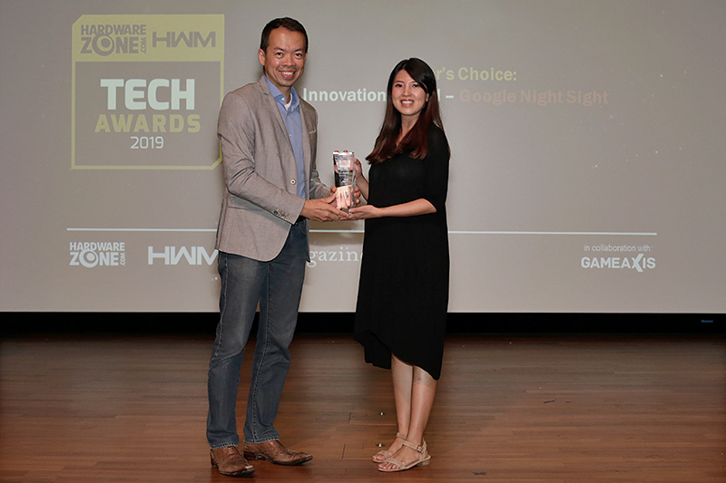 Google's AI-powered Night Sight computational photography tech also picks up an Innovation Award. Here's Ms. Angeline Leow, Head of Singapore Communications at Google, receiving the trophy.